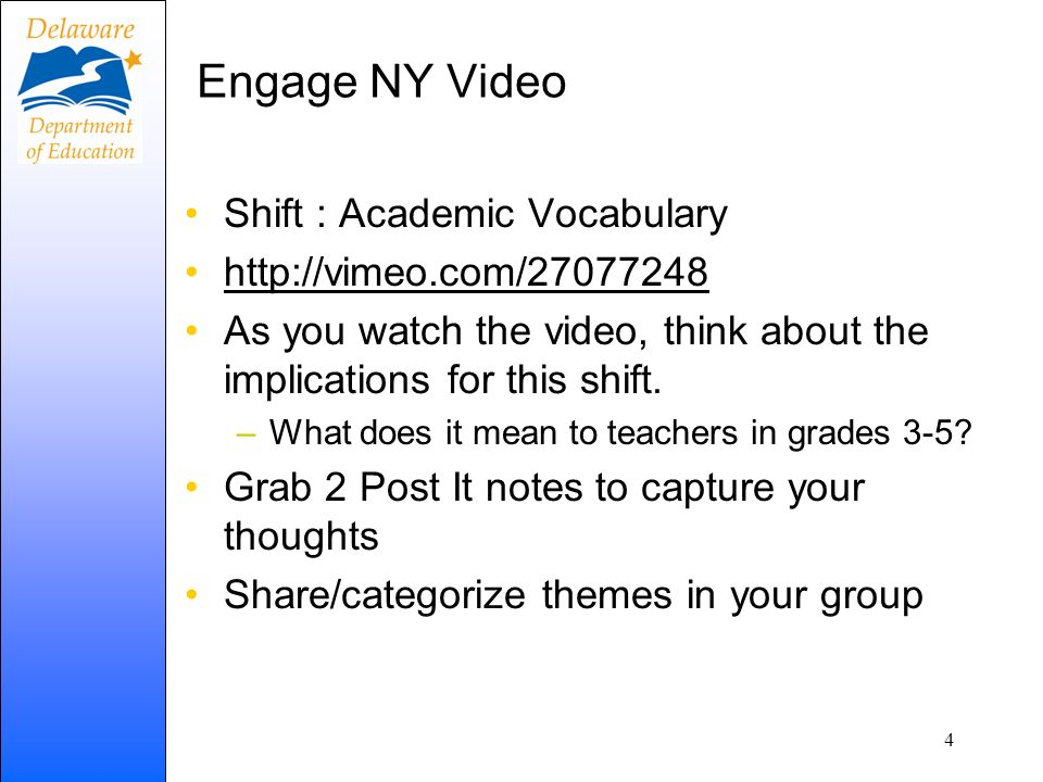 Engage NY Video Shift : Academic Vocabulary http://vimeo.com/27077248