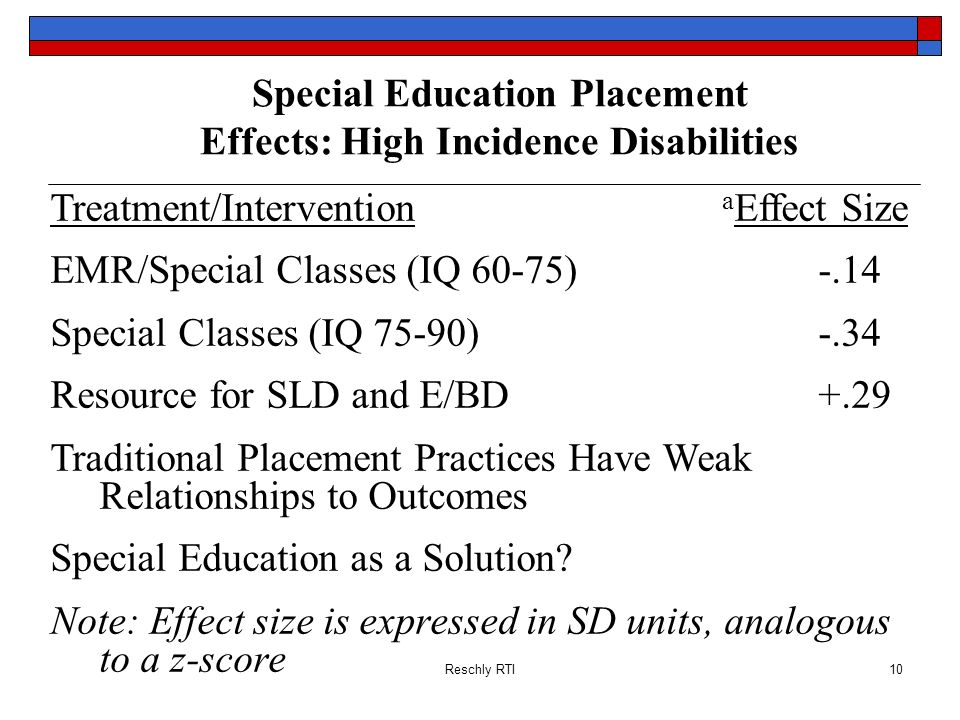 Special Education Placement Effects: High Incidence Disabilities