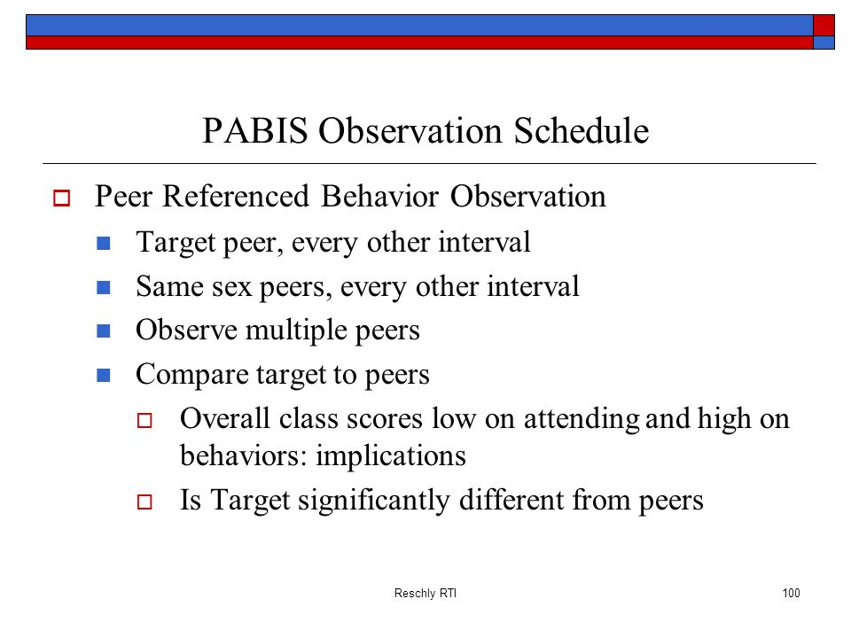 PABIS Observation Schedule