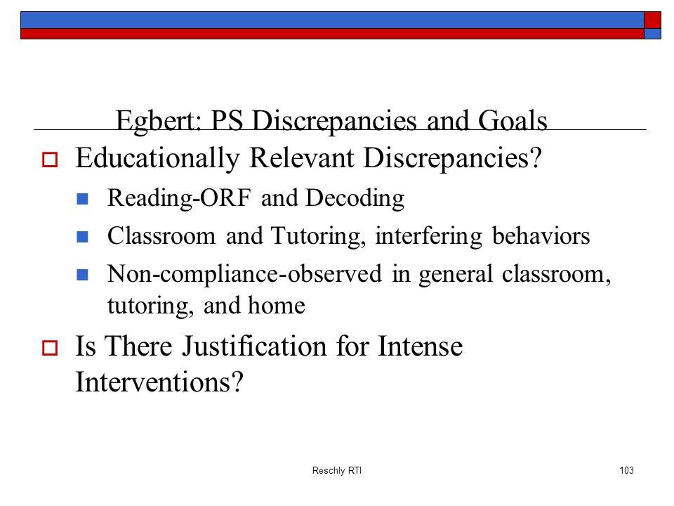 Egbert: PS Discrepancies and Goals