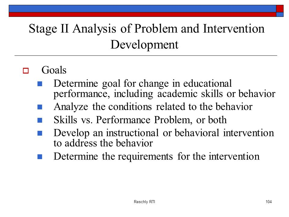 Stage II Analysis of Problem and Intervention Development