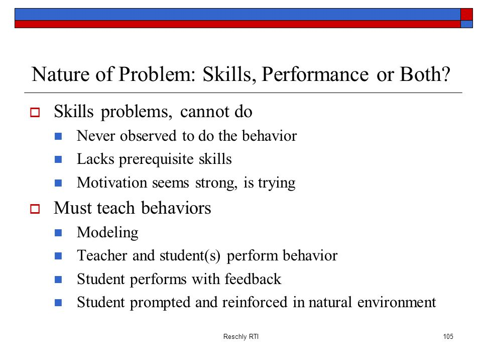 Nature of Problem: Skills, Performance or Both