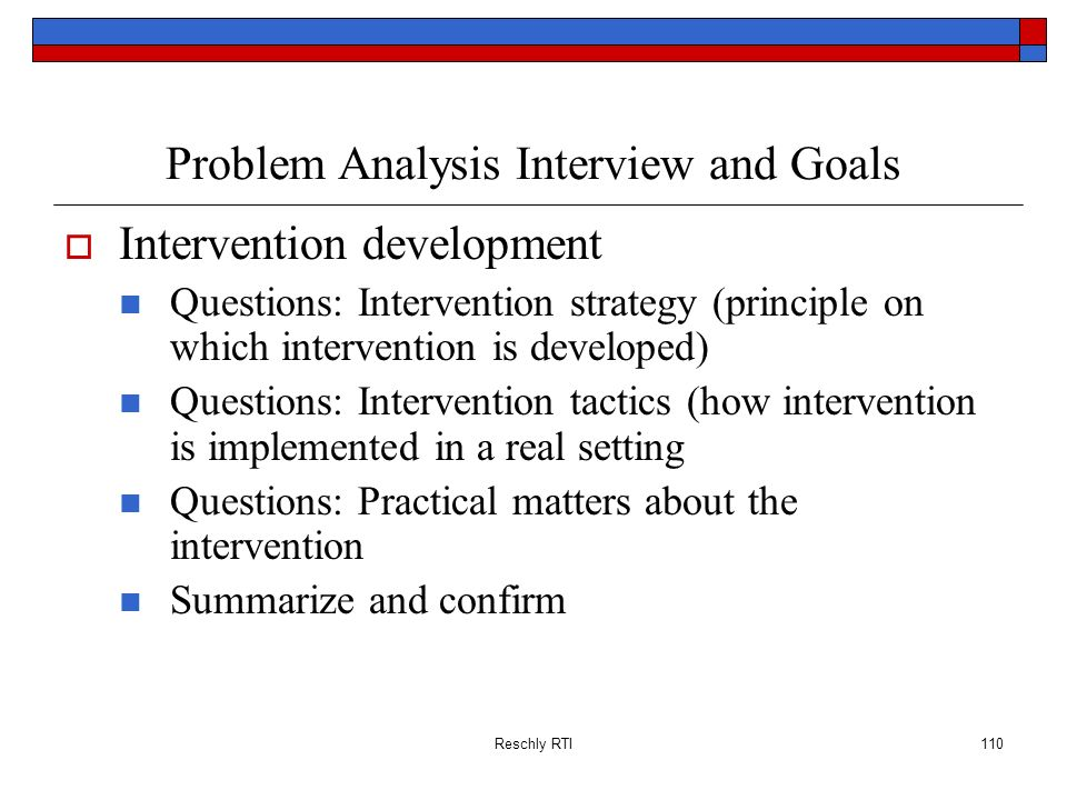 Problem Analysis Interview and Goals
