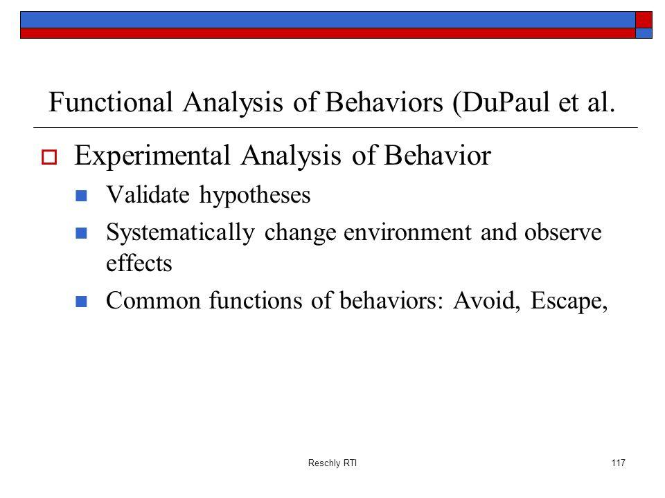 Functional Analysis of Behaviors (DuPaul et al.