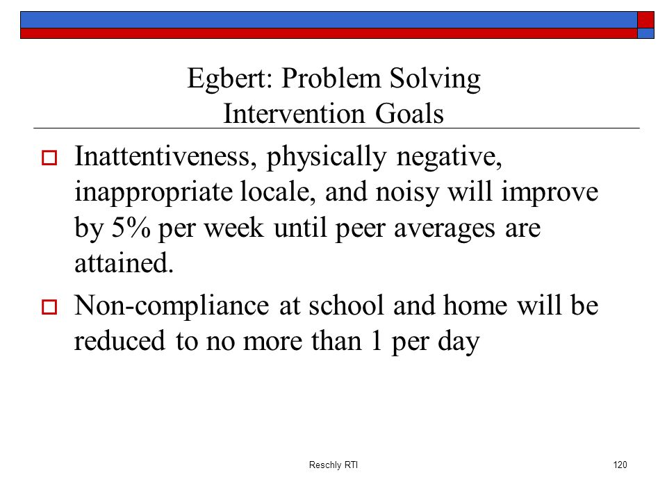 Egbert: Problem Solving Intervention Goals
