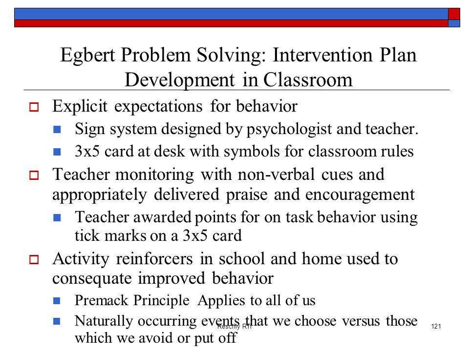 Egbert Problem Solving: Intervention Plan Development in Classroom