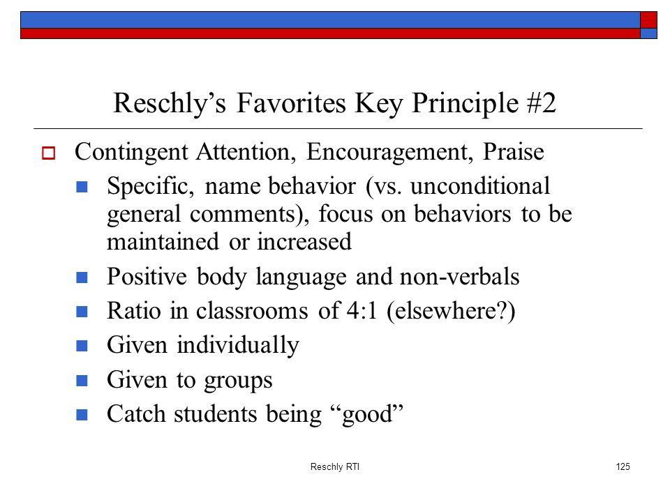 Reschly's Favorites Key Principle #2