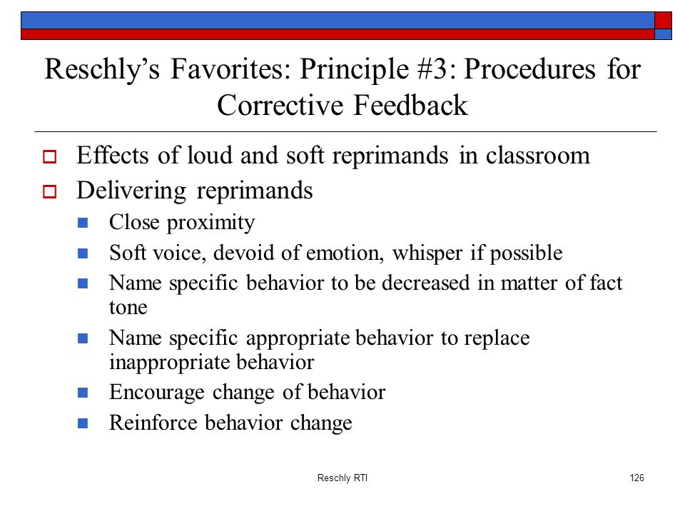 Reschly's Favorites: Principle #3: Procedures for Corrective Feedback