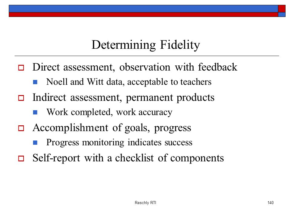 Determining Fidelity Direct assessment, observation with feedback