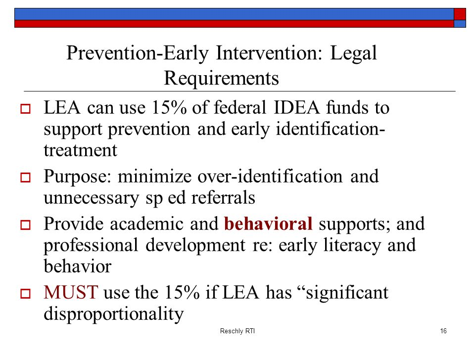 Prevention-Early Intervention: Legal Requirements