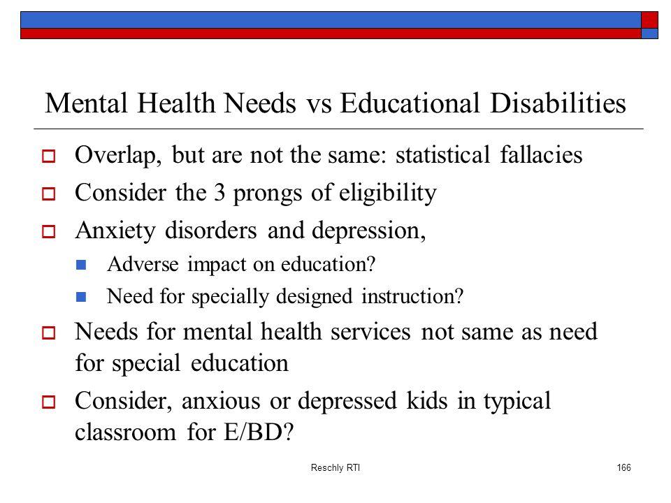 Mental Health Needs vs Educational Disabilities