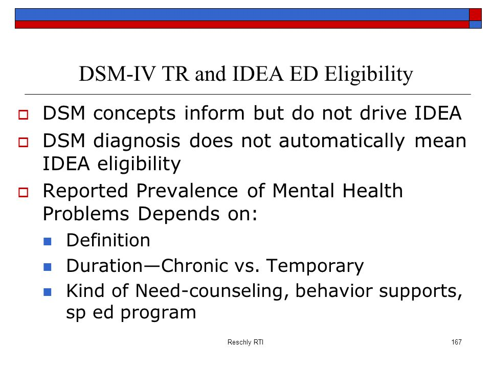 DSM-IV TR and IDEA ED Eligibility