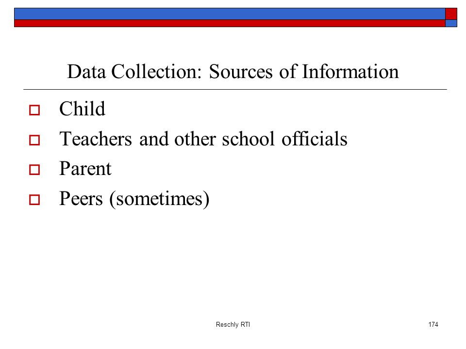 Data Collection: Sources of Information