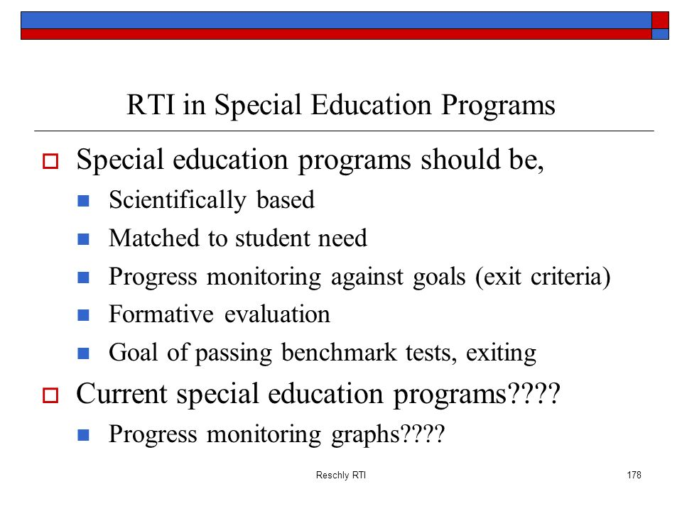 RTI in Special Education Programs