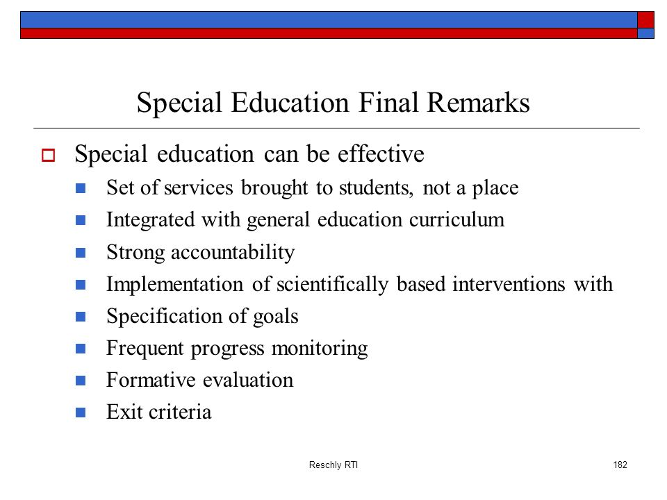 Special Education Final Remarks