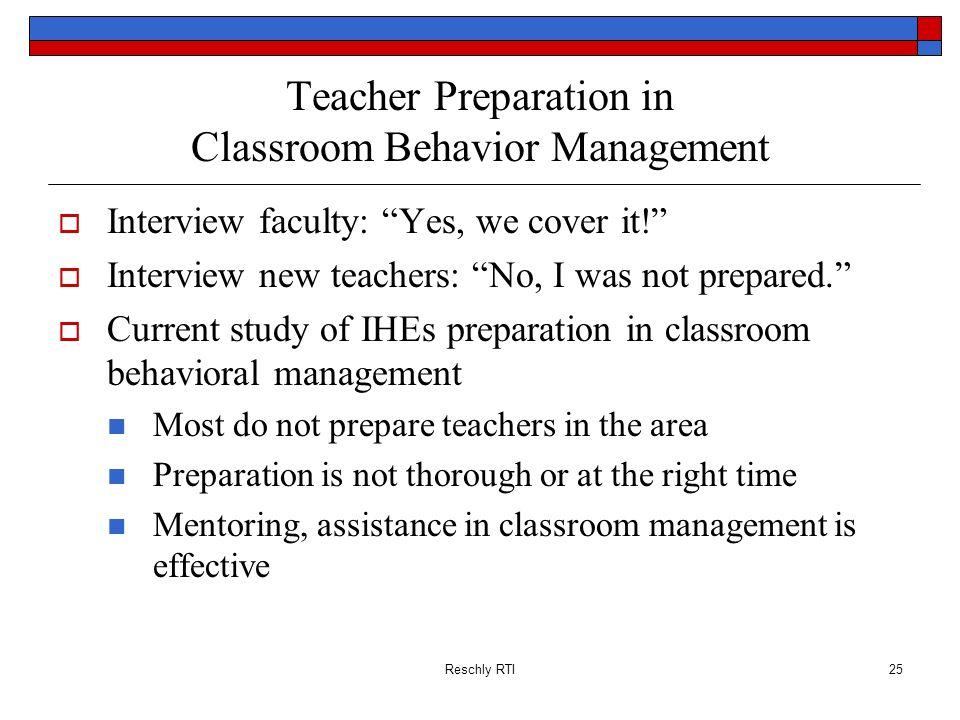 Teacher Preparation in Classroom Behavior Management