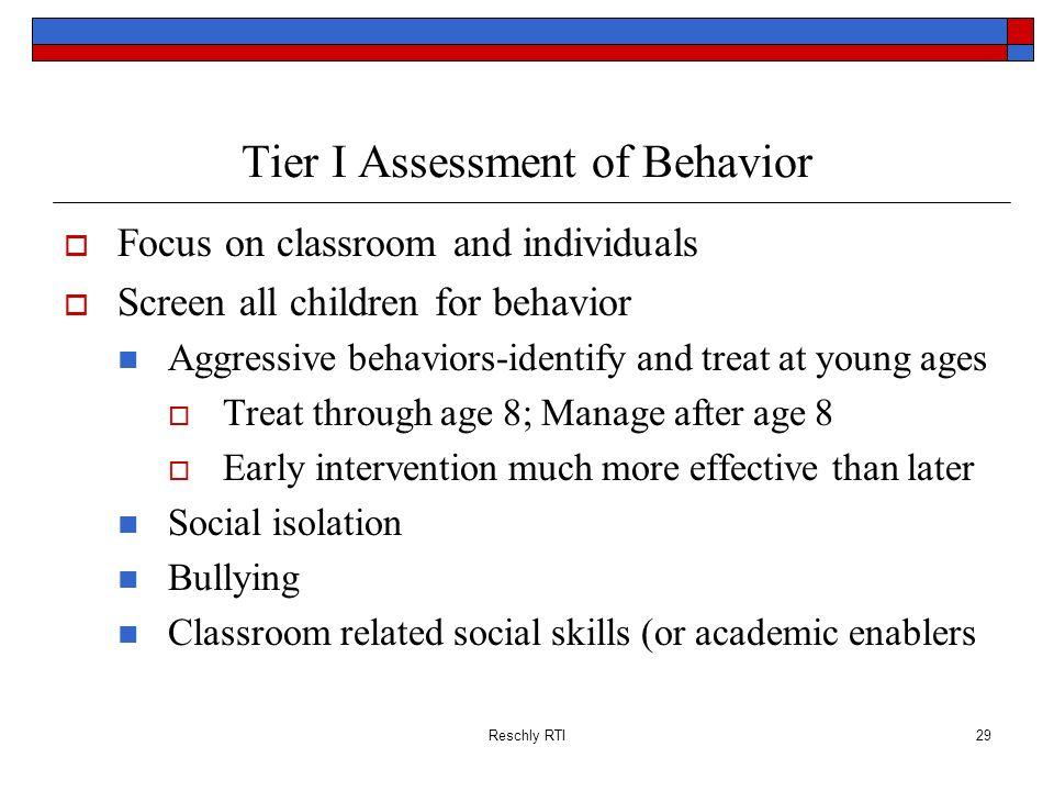 Tier I Assessment of Behavior