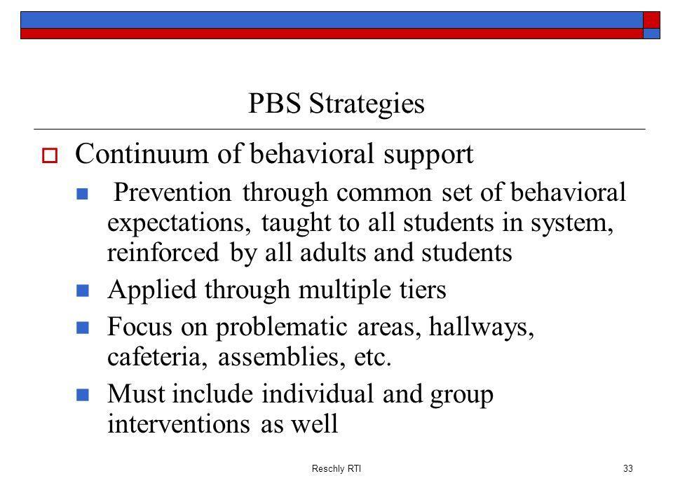 Continuum of behavioral support