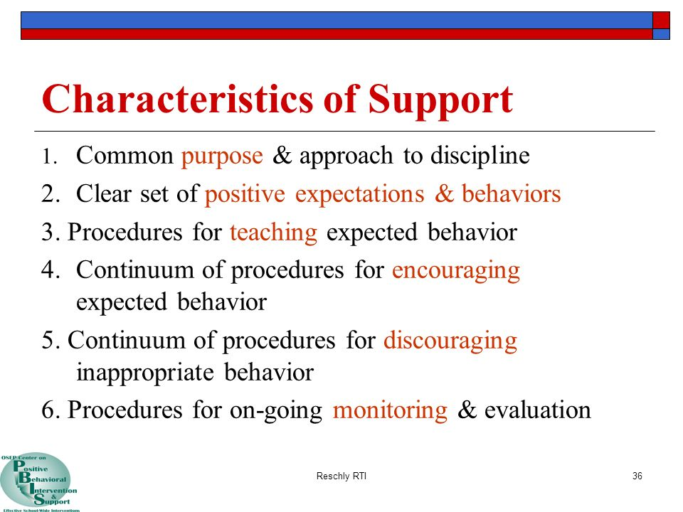 Characteristics of Support