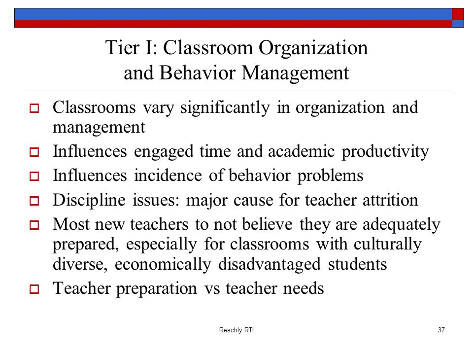 Tier I: Classroom Organization and Behavior Management