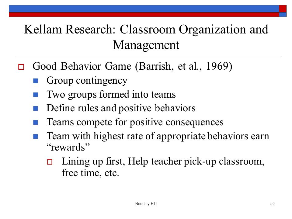 Kellam Research: Classroom Organization and Management