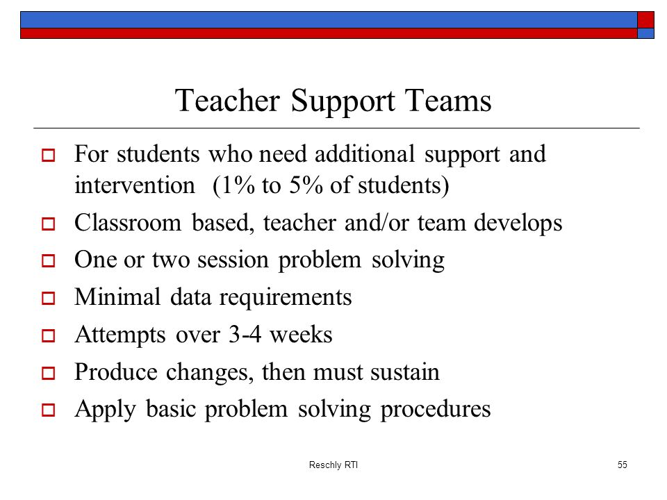 Teacher Support Teams For students who need additional support and intervention (1% to 5% of students)