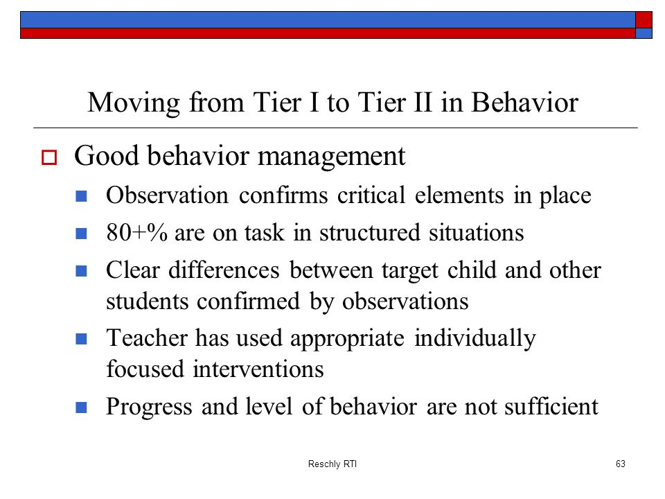 Moving from Tier I to Tier II in Behavior