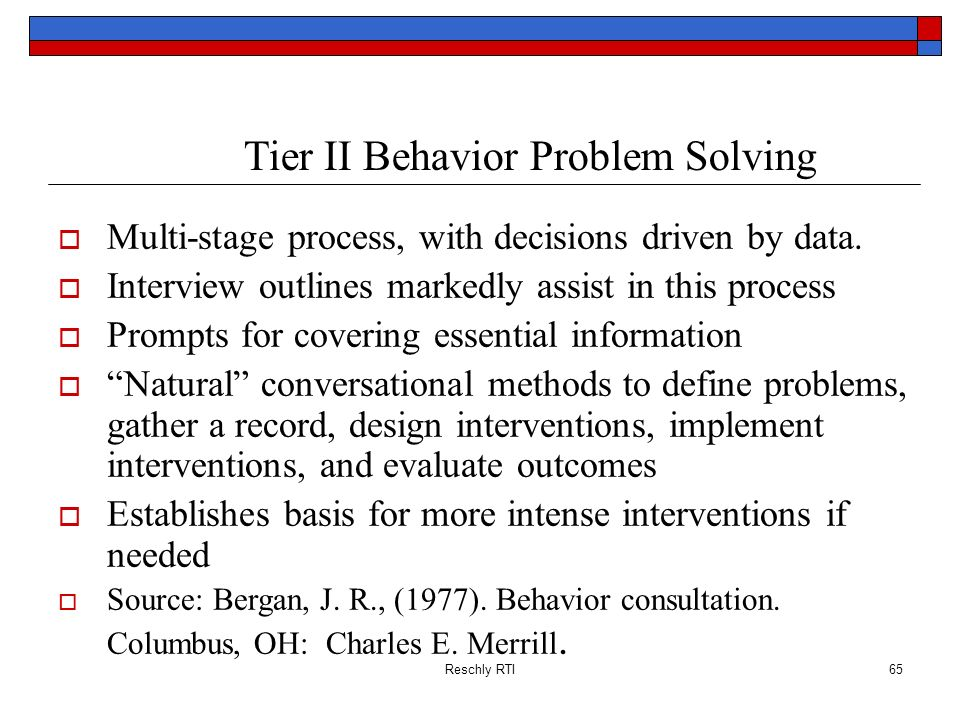 Tier II Behavior Problem Solving