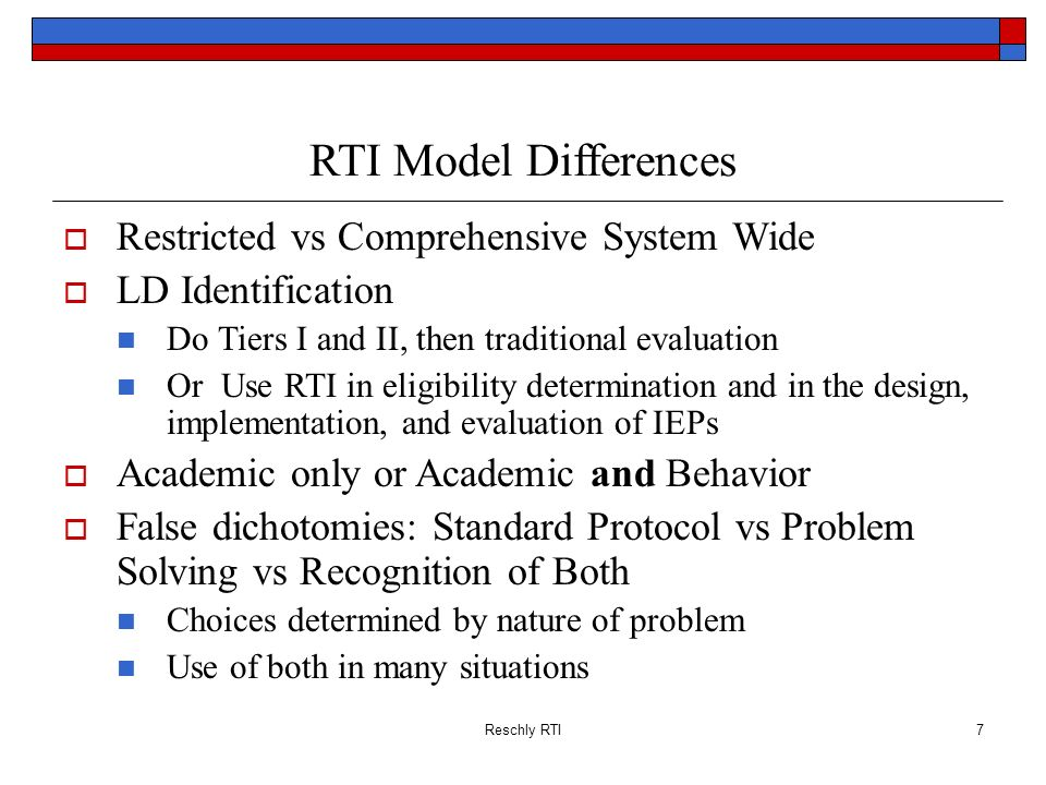 RTI Model Differences Restricted vs Comprehensive System Wide