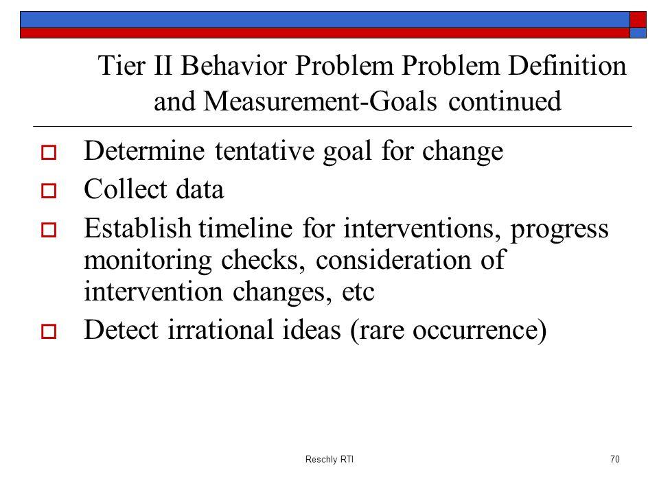 Tier II Behavior Problem Problem Definition and Measurement-Goals continued