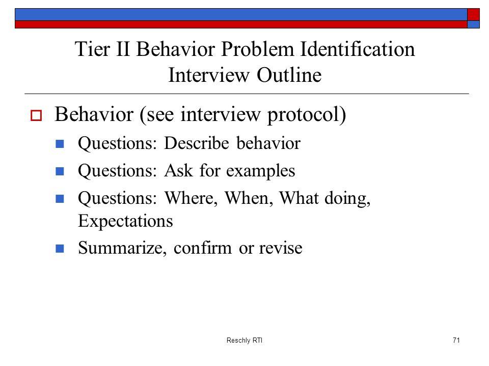 Tier II Behavior Problem Identification Interview Outline