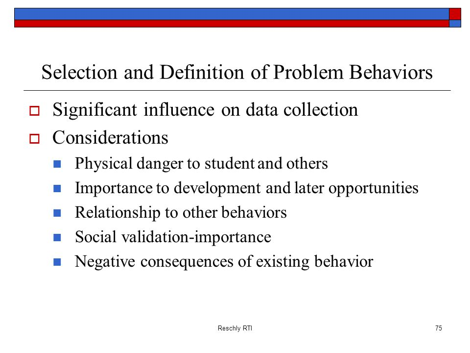 Selection and Definition of Problem Behaviors