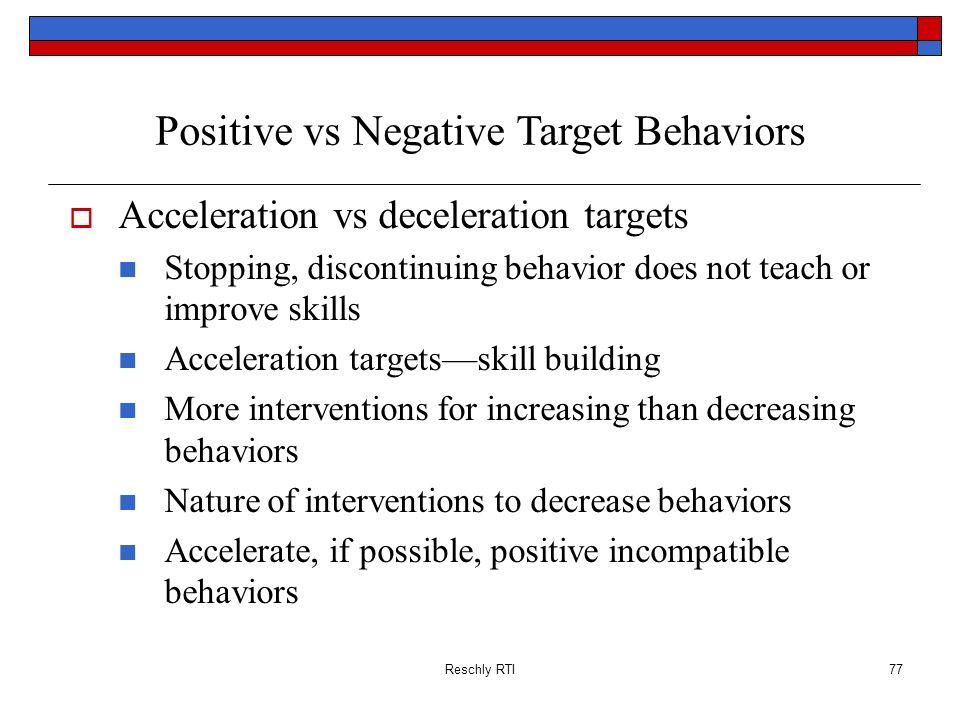 Positive vs Negative Target Behaviors