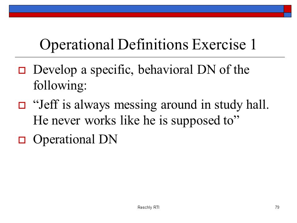 Operational Definitions Exercise 1