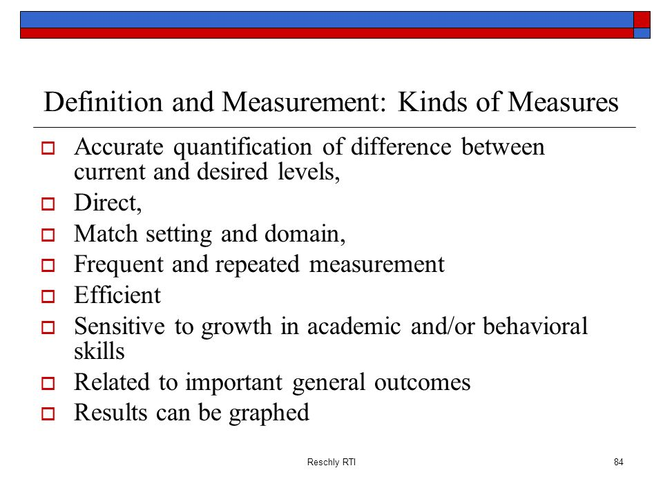 Definition and Measurement: Kinds of Measures