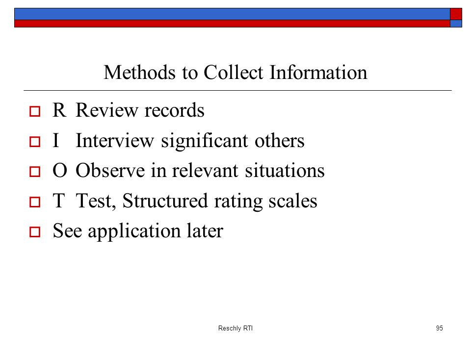Methods to Collect Information