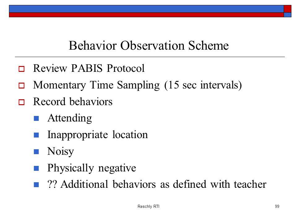Behavior Observation Scheme