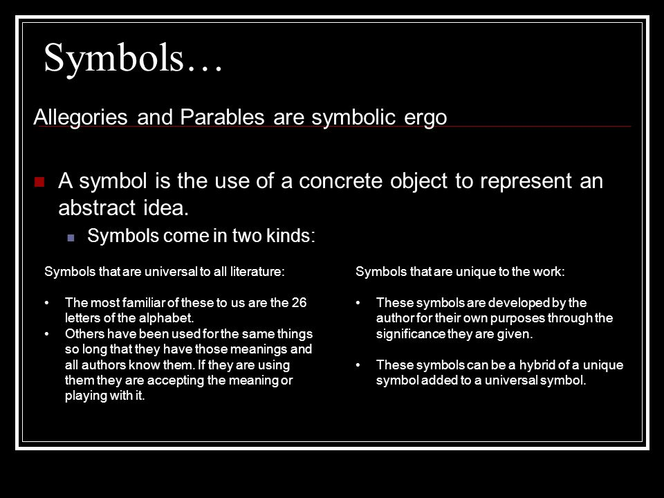 symbols in literature ppt  2 symbols