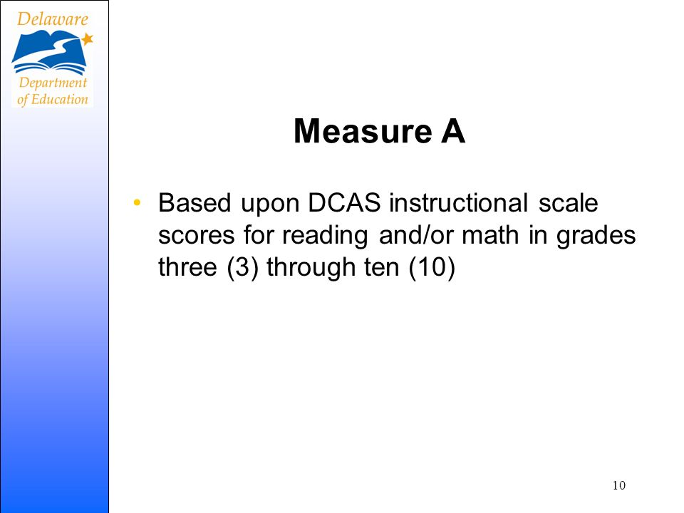 Measure A Based upon DCAS instructional scale scores for reading and/or math in grades three (3) through ten (10)