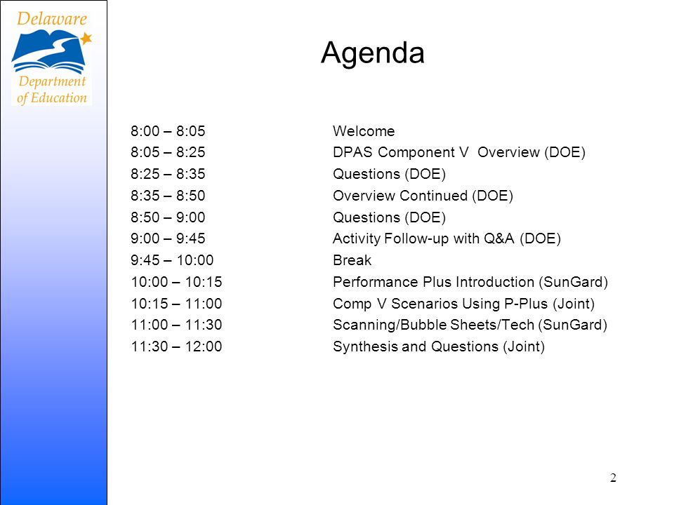Agenda 8:00 – 8:05 Welcome 8:05 – 8:25 DPAS Component V Overview (DOE)