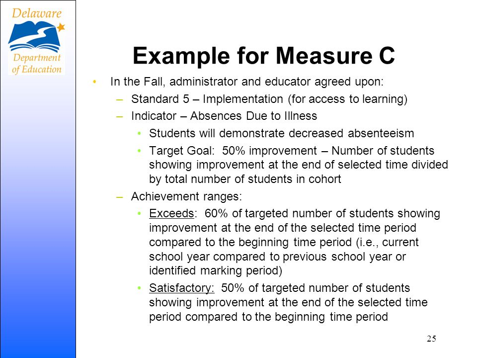 Example for Measure C In the Fall, administrator and educator agreed upon: Standard 5 – Implementation (for access to learning)