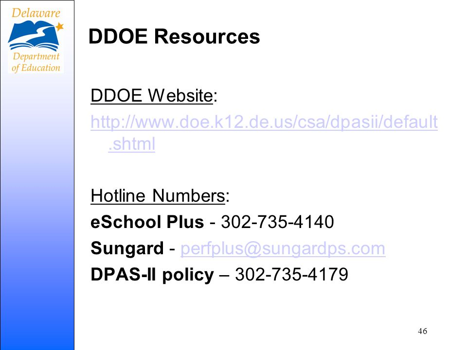 DDOE Resources