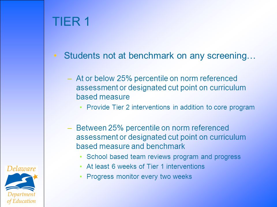 TIER 1 Students not at benchmark on any screening…