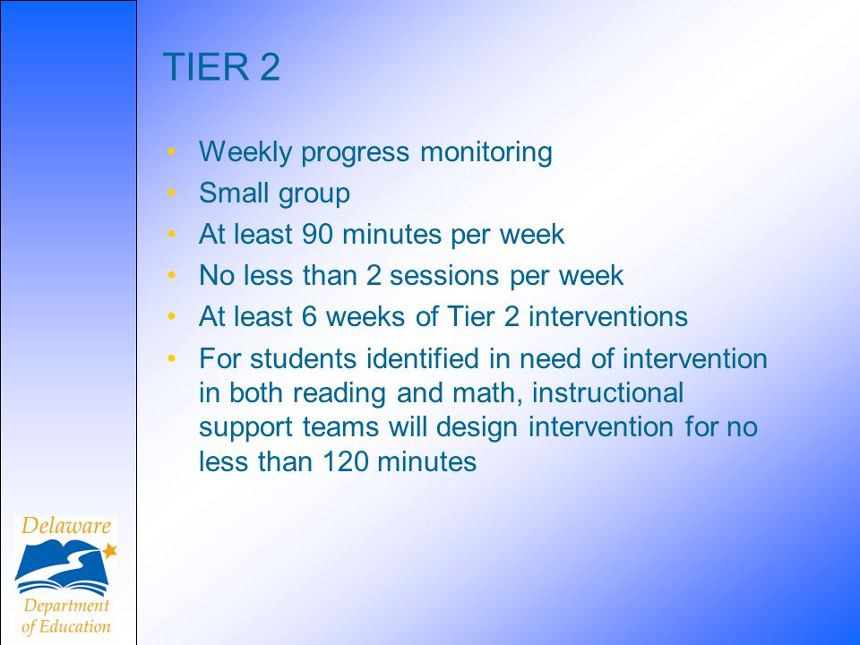 TIER 2 Weekly progress monitoring Small group
