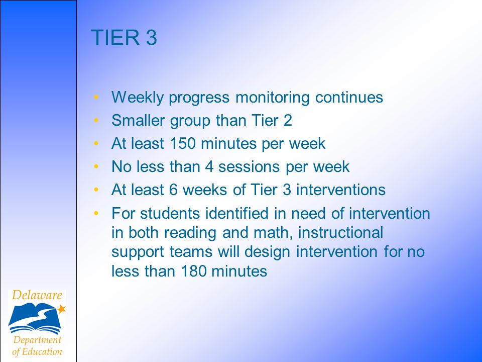 TIER 3 Weekly progress monitoring continues Smaller group than Tier 2
