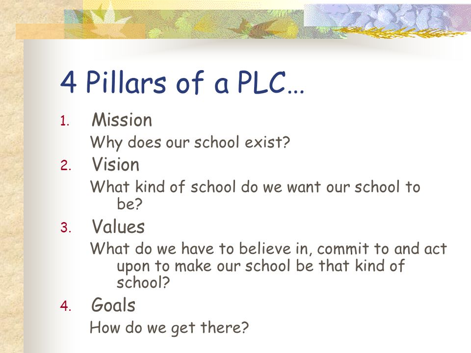 4 Pillars of a PLC… Mission Vision Values Goals