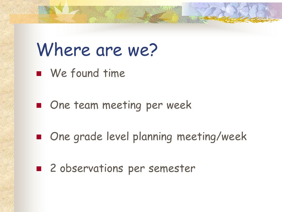 Where are we We found time One team meeting per week