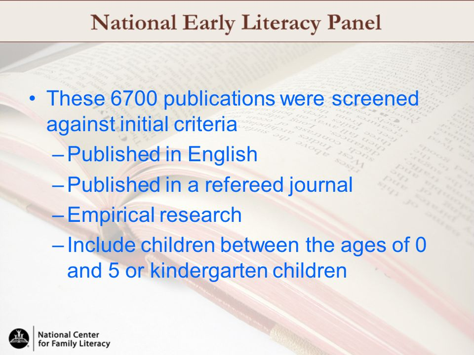These 6700 publications were screened against initial criteria