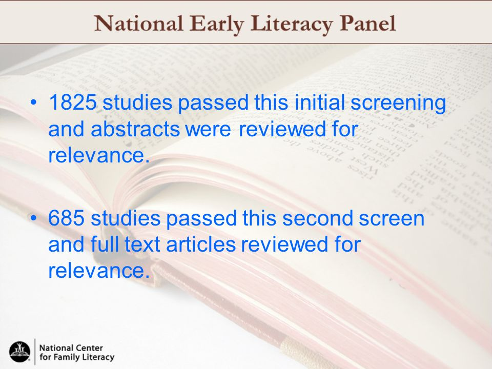 1825 studies passed this initial screening and abstracts were reviewed for relevance.