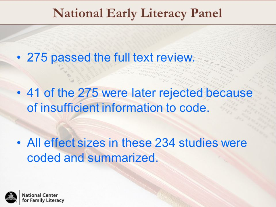 275 passed the full text review.